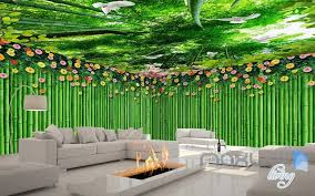 wallpaper for entire wall 3d bamboo wall flower top ceiling entire living room wallpaper wall
