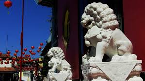 asian lion statues los angeles ca september 3 2013 low angle of