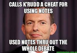 Meme Notes - calls k rudd a cheat for using notes used notes thru out the