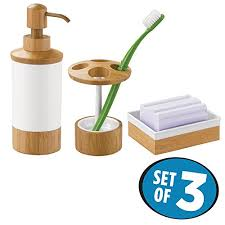 mdesign bath accessory set soap dispenser pump toothbrush holder