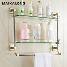 Bathroom Glass Shelves With Towel Bar Bathroom Glass Shelf Wall Mount With Towel Bar And Rail Gold