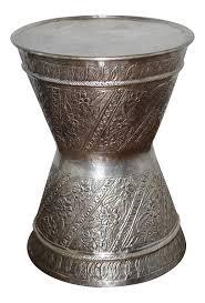 fez silver metal drum table stool chairish