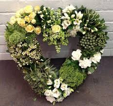 funeral wreaths green white heart funeral flowers norwood ma florist