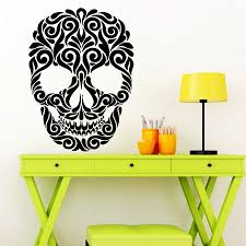 popular skeleton wall decals buy cheap lots flower skeleton design wall decal happy halloween wonky art decor removable vinyl stickers bedroom