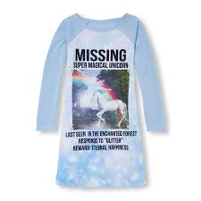 Unicorn Clothes For Girls Girls Long Raglan Sleeve U0027missing Super Magical Unicorn U0027 Nightgown