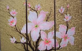 impression fresh winter pink flowers group oil painting home