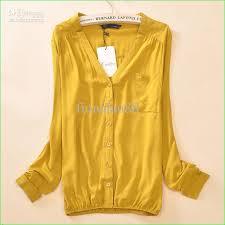 womens yellow tops blouses 2018 2013 brand fashion shirts summer sleeve chiffon