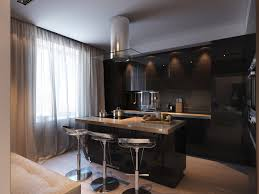 small black kitchen design with modern black kitchen cabinets