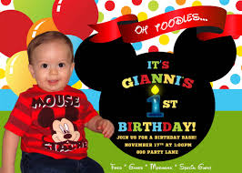 1st Birthday Invitation Card For Baby Boy Mickey Mouse Clubhouse 1st Birthday Invitations Plumegiant Com