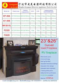 26 insert electric fireplace heater curved front log led flame