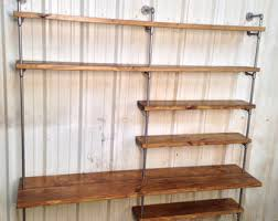desk and bookshelves industrial bookcase etsy
