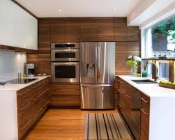 Century Kitchen Cabinets by Brown Striped Carpet And Stainless Steel Appliances For Modern