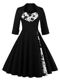 black dresses vintage dresses black xl flower panel swing dress gamiss