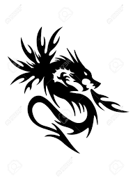 the symbolic dragon tattoos black dragon on white background royalty free cliparts vectors
