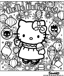 kitty christmas coloring pages kitty