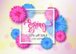 discount flowers sale background with flowers season discount banner