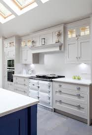 white and blue kitchen cabinets blue and off white kitchen