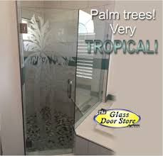 Etched Shower Doors Etched Glass Tropical Designs On Front Entry Doors