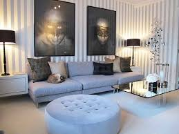 glamorous blue living room decor white and grey stripes wall light
