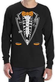 Funny Halloween Tee Shirts by Halloween Skeleton Tuxedo Long Sleeve T Shirt Funny Easy Costume