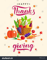 happy thanksgiving day poster inscription colorful stock vector