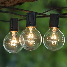 Clear Patio String Lights 100 Ft Black C9 String Light With G50 Clear Bulbs