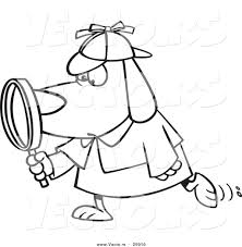 vector of a cartoon sleuth dog using a magnifying glass outlined