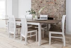 White And Oak Dining Table Dining Table And Bench Set Ebay