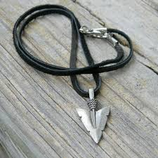 leather cord necklace mens images Arrowhead necklace mens leather cord unisex deerskin suede jpg