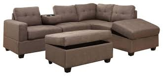 rena stone reversible sectional chaise with drop down tray and