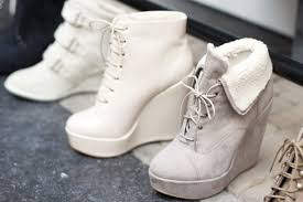 Grey Wedge Ankle Boots Shoes Lace Up White Cute Soft Grey Warm Wedges Grey Wedges