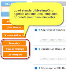 load and save agenda templates and minutes templates meeting