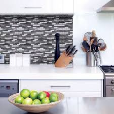 Adhesive Backsplash Tiles For Kitchen Interior Smart Tiles Murano Metallik In W X In H Peel And