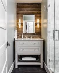 Rustic Bathroom Sconces Rustic Bathroom With Plank Accent Wall Cottage Bathroom
