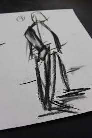 drawing folds in fabric using charcoal