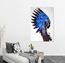 native american man figure picture canvas art living room wall
