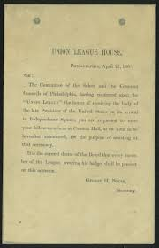 union league of philadelphia funeral invitation letter