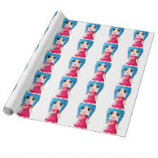 anime wrapping paper anime chibi girl wrapping paper zazzle