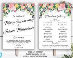 Wedding Program Template Fan Program Fan Template Etsy