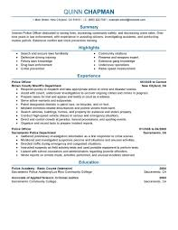 Sample Resume Objectives Massage Therapist by Best Police Officer Resume Example Livecareer