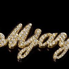 14k Gold Name Necklace 14k Gold Diamond Name Necklace