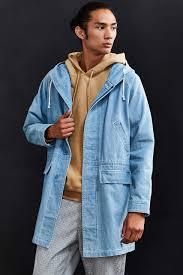 Light Blue Jacket Mens Stussy Long Denim Parka Jacket In Blue For Men Lyst