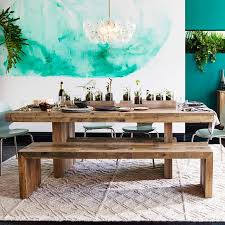 Wood Kitchen Table With Bench And Chairs Emmerson Reclaimed Wood Dining Bench West Elm