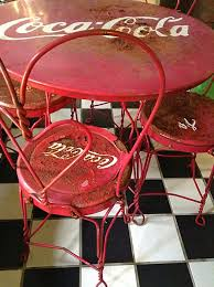 coca cola table and chairs sold to stacey vintage coca cola ice cream parlor table and chairs