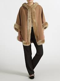 john lewis maria hooded cape in brown lyst