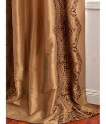Faux Silk Embroidered Curtains Copper Embroidered Faux Silk Curtain Overstock