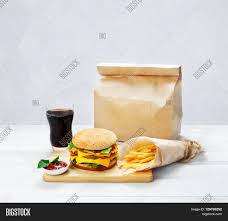 hamburger wrapping paper fast food brown wrapping paper image photo bigstock