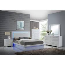 Contemporary California King Bedroom Sets - saturn 5 piece contemporary cal king led light bedroom set with 2