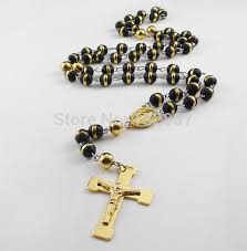 black rosary necklace images Hot white black red yellow blue three tone silicone rosary jpg