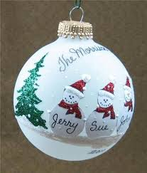 personalized snowman family glass ornament